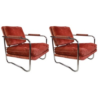 Pair of Machine Age Art Deco Tubular Chrome Lounge Chairs For Sale