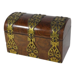 19th Century Victorian Burl Wood Tea Caddy Box For Sale