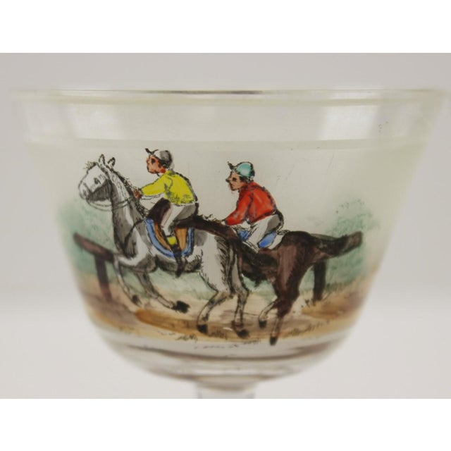 Hand Painted Jockeys Cordial Glasses - Set of 4 For Sale - Image 4 of 5