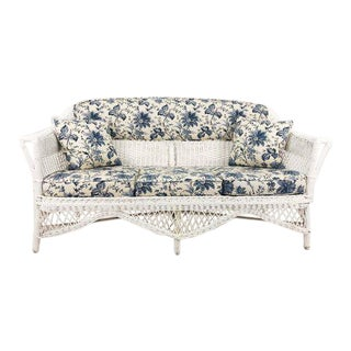 Antique Blue & White Chintz Wicker Sofa