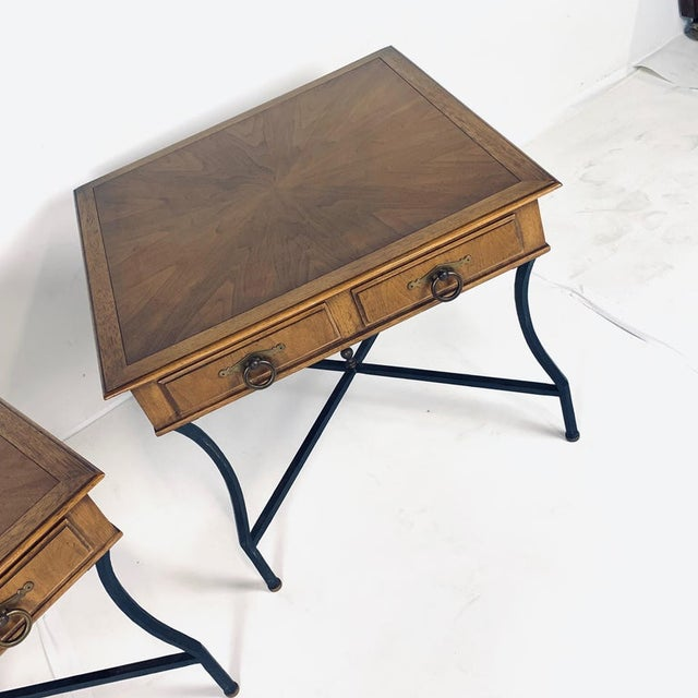 Hollywood Regency Stunning Pair of Tomlinson Inlaid Walnut Midcentury End Lamp Tables W Ring Pulls For Sale - Image 3 of 12