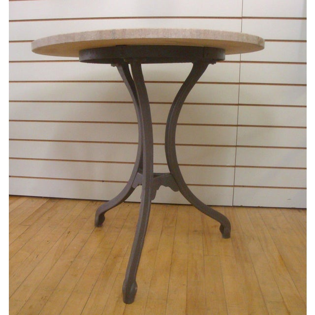 French Tripod Pedestal Iron Bistro Table With Pink Granite Round Top For Sale - Image 3 of 5