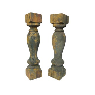 Antique Wooden Balusters - a Pair For Sale