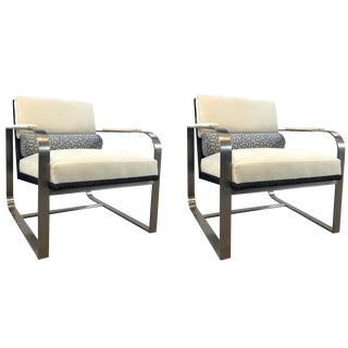 Caracole Modern White and Gray Lounge Chairs Pair For Sale