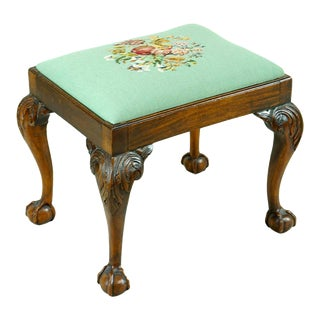 19th Century English George III Stool With Carved Cabriole Legs