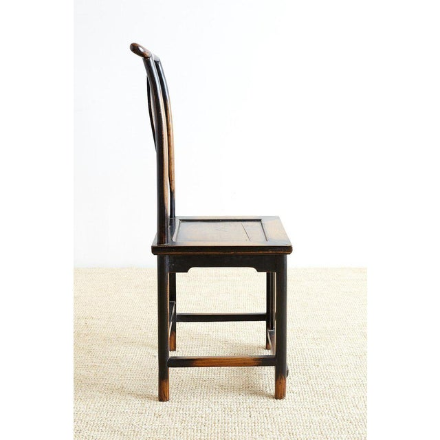 Asian Chinese Dragon Carved Yoke Back Official's Hat Chairs For Sale - Image 3 of 13