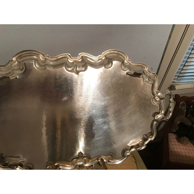 Vintage Poole Silverplate Footed Scalop Tray For Sale - Image 9 of 13