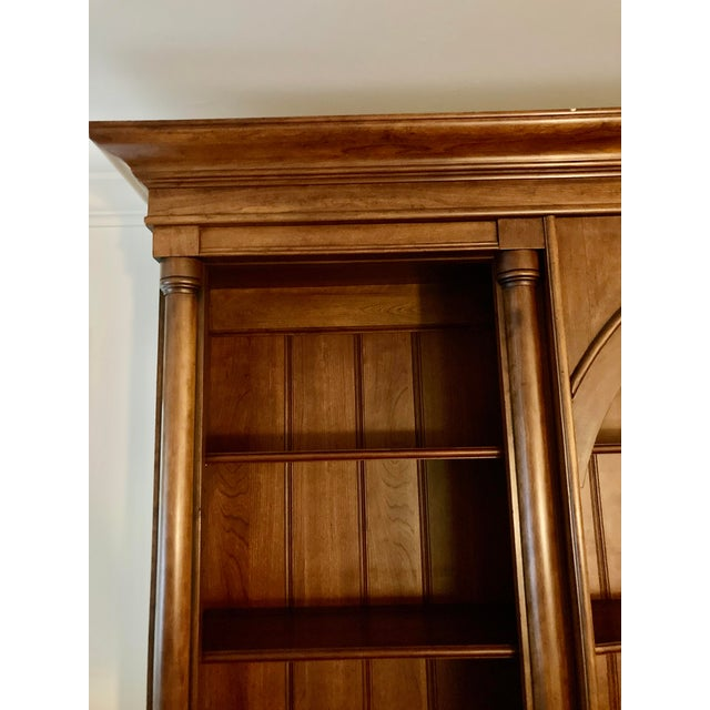 Traditional Cherry Triple Bookcase Breakfront Cabinet by Henredon For Sale - Image 3 of 13