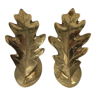 Mid 20th Century Vintage Brass Oak Leaf Bookends - a Pair For Sale