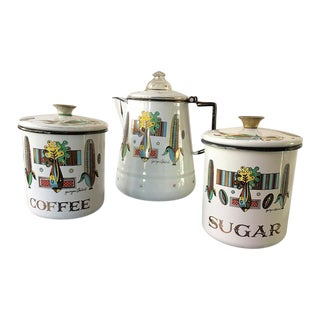 Georges Briard Enamelware Coffee Set - 3 Pieces For Sale