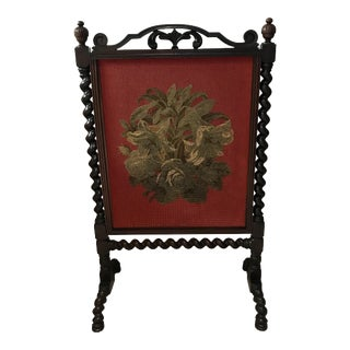 20th Century English Victorian Red Wooden Fire Screen