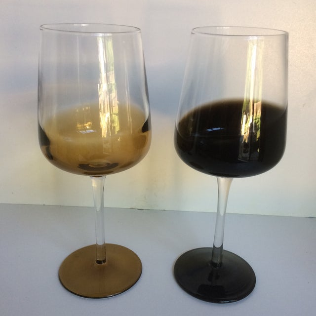 Mid-Century Modern Style Reverse Ombré Black & Amber Brown Wine Glasses - Set of 6 For Sale - Image 4 of 13