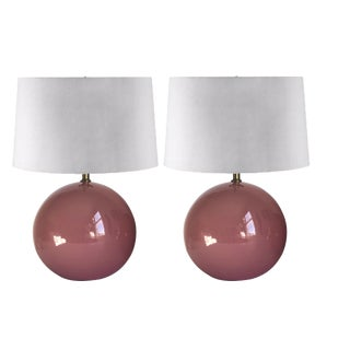 Vintage Pink Ceramic Ball Lamps — a Pair For Sale