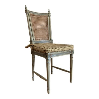 1920s Vintage Louis XVI Style Painted French Caned Side Chair For Sale