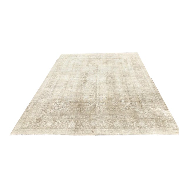 Oversized Antique Distressed Hand Knotted Oushak Rug For Sale