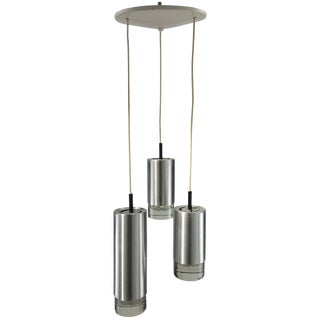 1960's Vintage RAAK B1075 Brushed Steel and Glass Triple Pendant Lamp For Sale