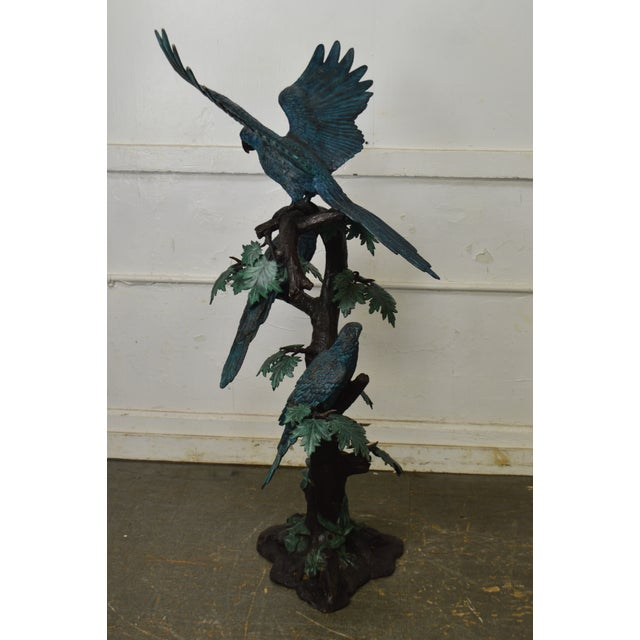 Gold Cold Painted Bronze Large Statue of Jungle Birds on a Tree For Sale - Image 8 of 13