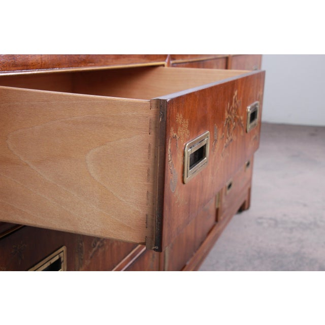 Metal Drexel Heritage Hollywood Regency Chinoiserie Long Dresser or Credenza For Sale - Image 7 of 13