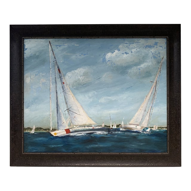 Antique Sailboat Painting Framed For Sale