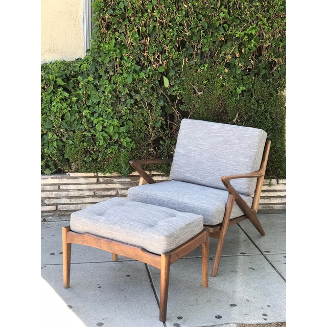Mid Century Modern Lounge Chair and Ottoman- Customizable For Sale - Image 12 of 13