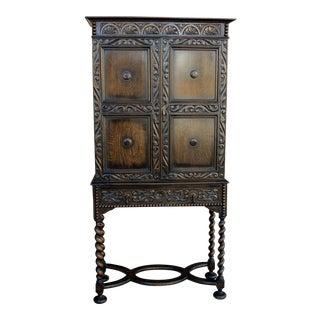 19th Century Jacobean Tudor Barley Twist Cabinet Bookcase For Sale