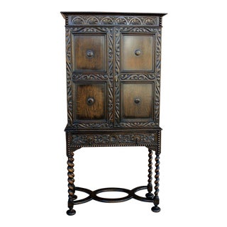 Antique English Oak 19th Century Jacobean Tudor Barley Twist Cabinet Bookcase For Sale