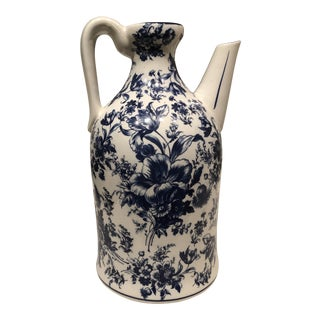 1950s Italian Blue and White Floral Jug For Sale