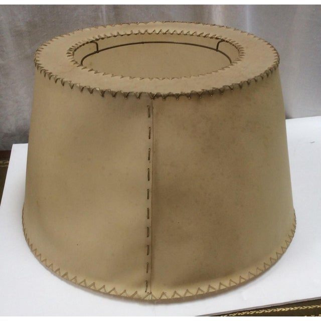Tan Vintage Vellum Hand Stitched Shade For Sale - Image 8 of 8