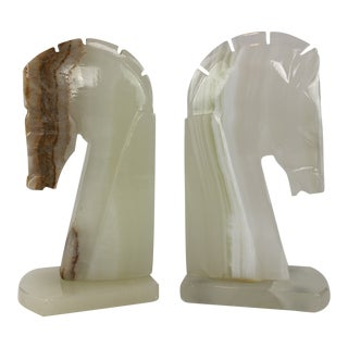 Art Deco Horse Head Stone Bookends - a Pair For Sale