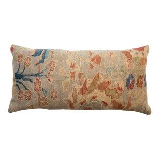 Reclaimed Antique Persian Rug Fragment Lumbar Pillow For Sale