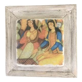 Handmade Framed Ottoman Musician Women Print For Sale
