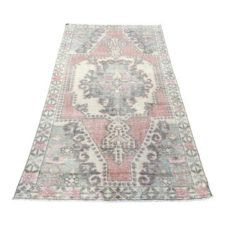 1960s Turkish Pastel Wool Rug-3′10″ × 7′2″ For Sale