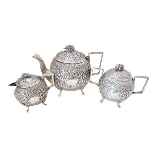Antique 19th Century Silver Elephant Motif Tea Service - 3 Piece Set For Sale