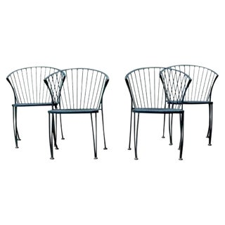 Mid Century Modern Woodard Set of 4 Curved Klismos Patio Side Chairs 1960s For Sale