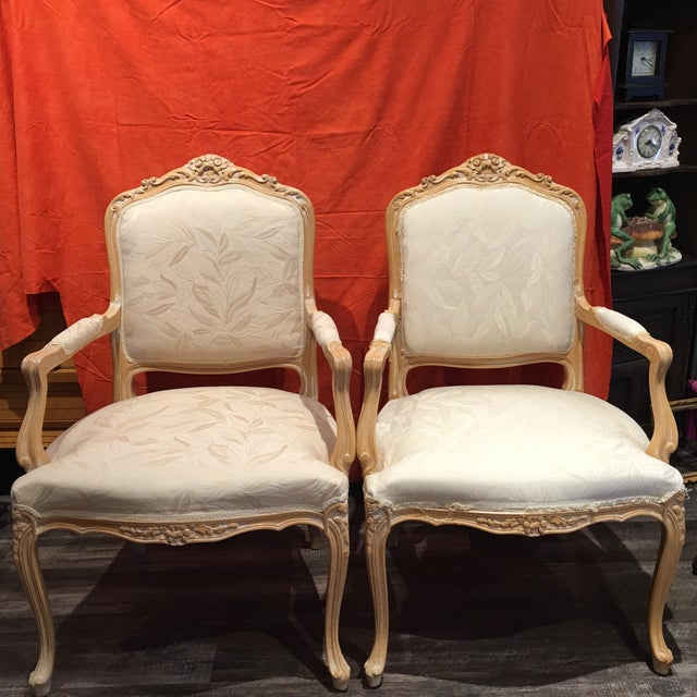 Louis XV Style Oak Wood Chairs - A Pair - Image 2 of 5