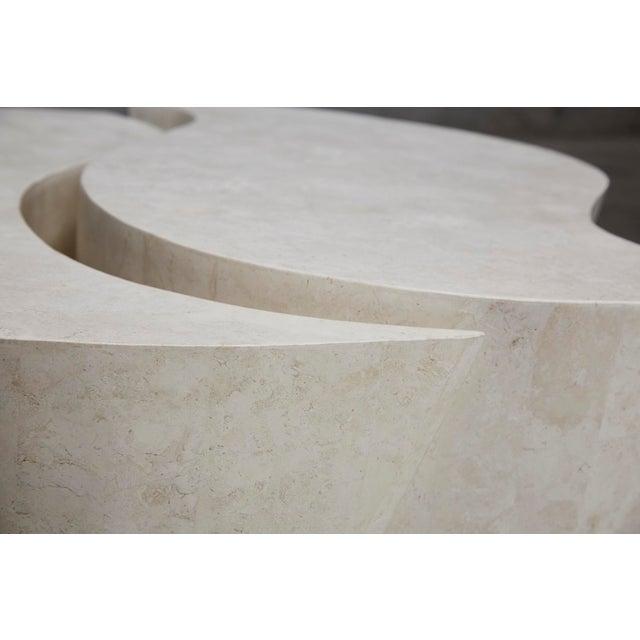 "Fiberglass 1990s Contemporary Freeform White Stone Two Part ""Hampton"" Coffee Table For Sale - Image 7 of 13"