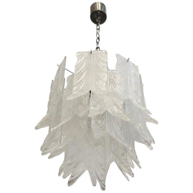 1960s Vintage Mazzega Graniglia Leaves Layered Murano Glass Chandelier For Sale