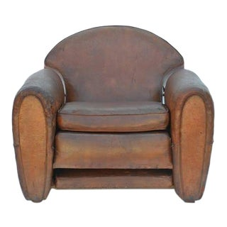 1930s Vintage Leather French Art Deco Adjustable Club Chair For Sale