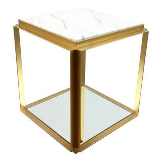 Bungalow 5 Modern Brass Finished and Carrara Marble Abbott Side Table For Sale