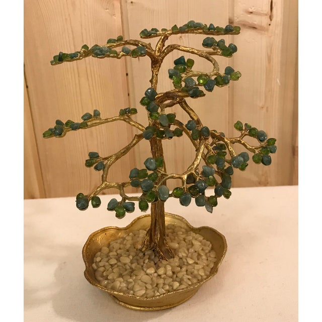 Mid-Century Modern Agate Bonsai Tree in Gold Dish - Image 3 of 10