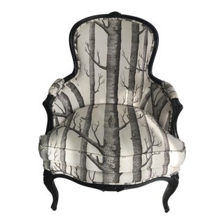 Black and White Bergere Arm Chair