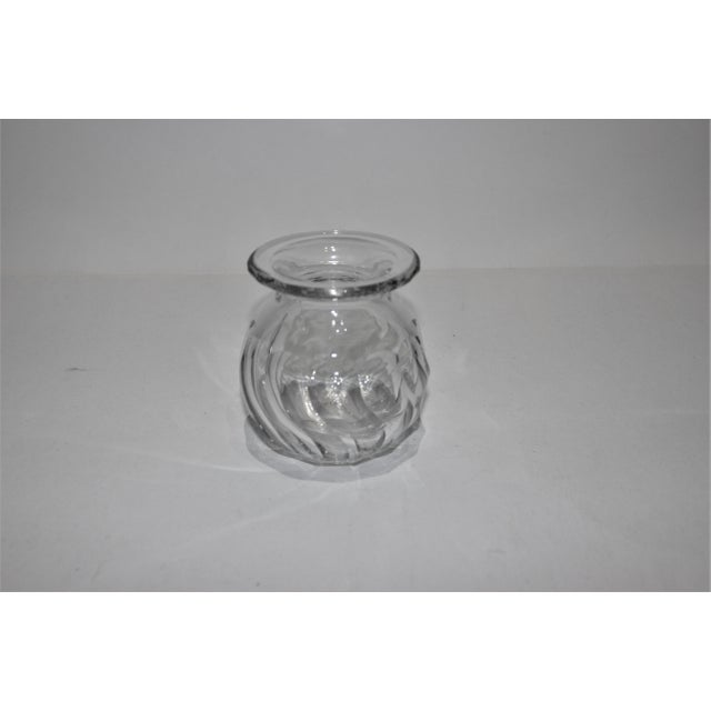 Petit Crystal Vase in Wave Pattern 1940s from a Palm Beach estate