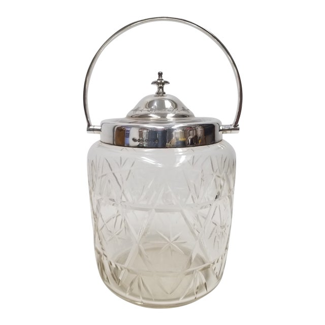 Antique English Crystal Glass Biscuit Jar For Sale