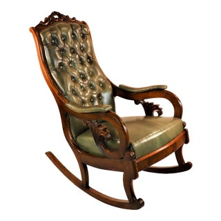 1830s English William IV Mahogany & Leather Rocking Chair For Sale
