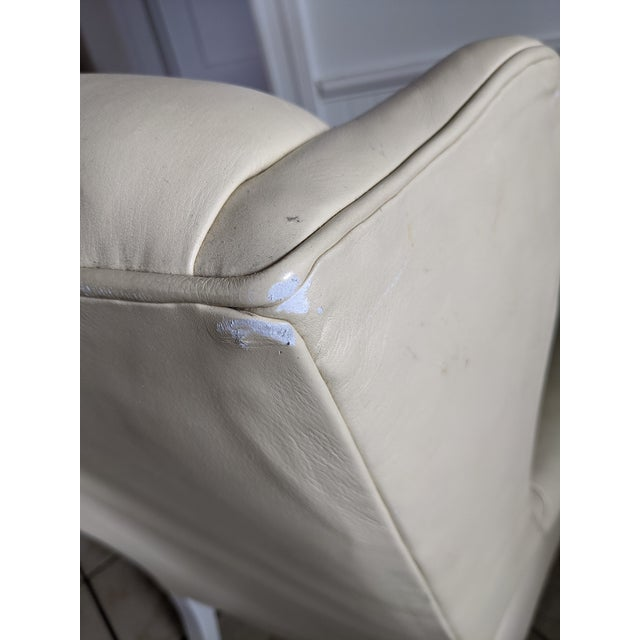 Wood Mid-Century Chesterfield Tufted White Leather Wingback Chair For Sale - Image 7 of 9