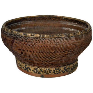 Antique Handwoven Cane and Bamboo Grain Basket from 19th Century, China