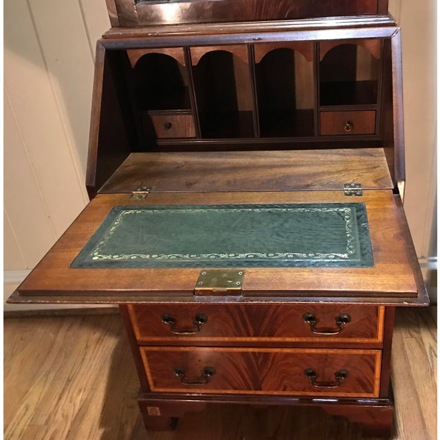 20th Century English Inlaid Desk Secretary With Bookcase For Sale - Image 4 of 13