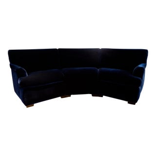 Plush Navy Blue Velvet Curved Sofa