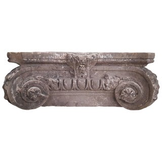 Antique (Early 19th Century) French Stone Column Capital, Ionian Style For Sale