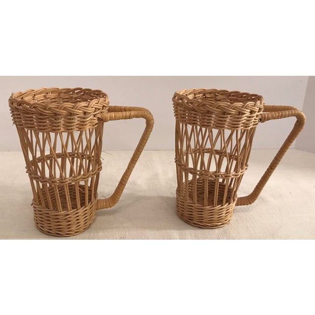 Tan Vintage Wicker Handled Glass Holders - A Pair For Sale - Image 8 of 8